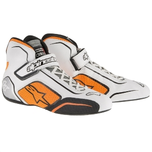 Bottines FIA Alpinestars Tech 1-T - Blanc/Orange fluo