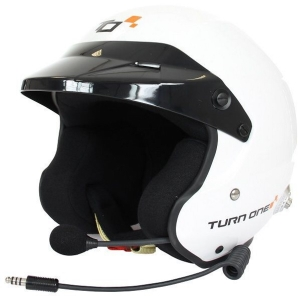 Casque FIA Turn One Jet-RS (Intercom Peltor) 8859-2015 - Blanc