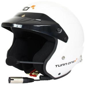 Casque FIA Turn One Jet-RS (Intercom Stilo Trophy) 8859-2015 - Blanc